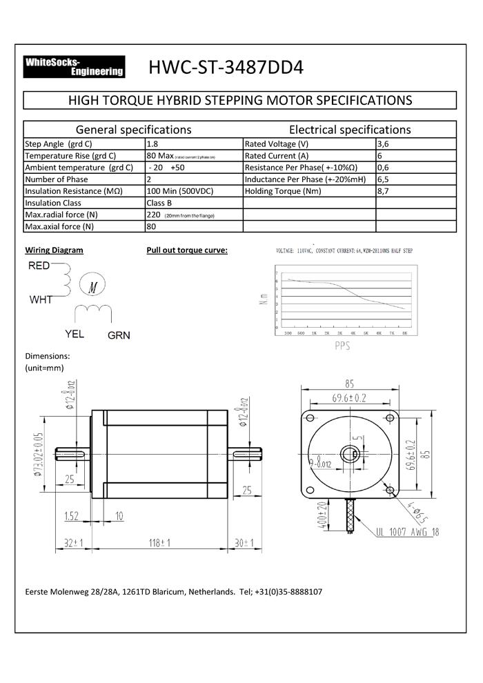 Stepper motor nema 34 stepper motor nema 34 8 7nm for Nema 34 servo motor